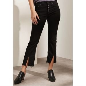 FREE PEOPLE Button Cropped Raw Hem Baby Bell Jeans